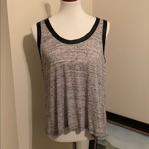 {Lush} grey leather lined tank top with sheer back